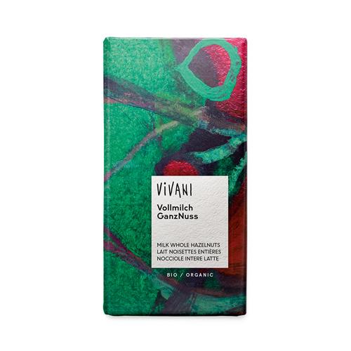 Шоколад молочный с цельным лесным орехом Vivani 100 г