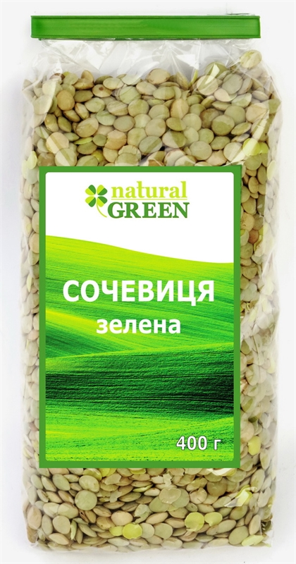 Чечевица зеленая Natural Green 400 г