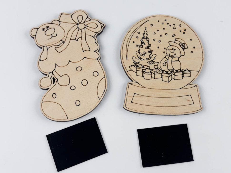 Деревянная раскраска-магнит новогодняя Шар и сапожек Ранок 2 фигуры