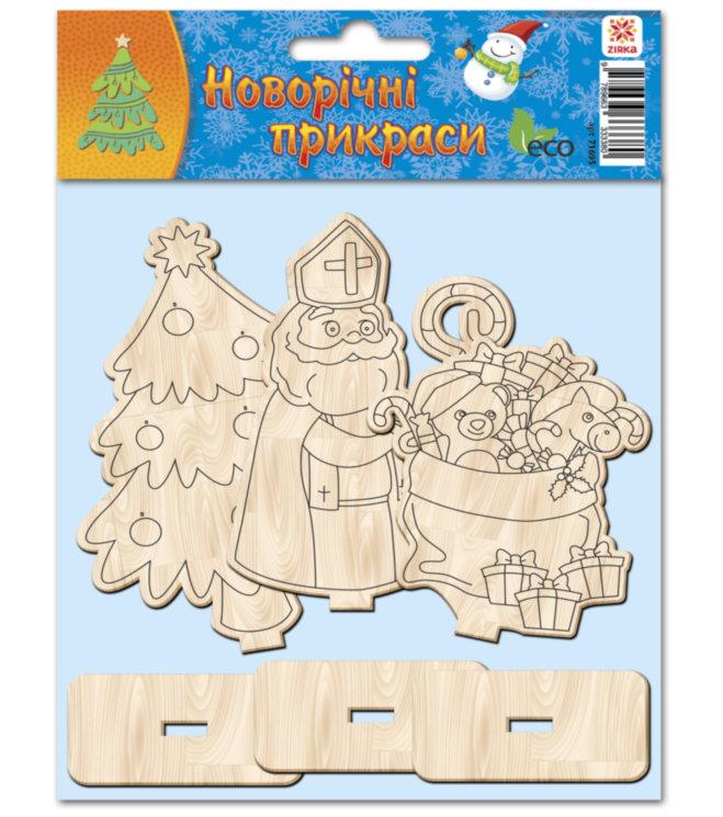 Деревянная раскраска новогодняя Святой Николай Ранок 3 фигуры